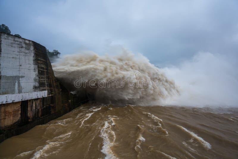 Сильный поток воды на запруде гидроэлектрическом Hoa Binh, Вьетнаме стоковая фотография