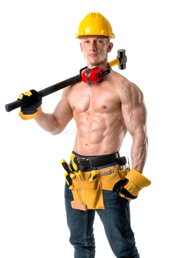 Сильный рабочий-строитель стоковое изображение rf
