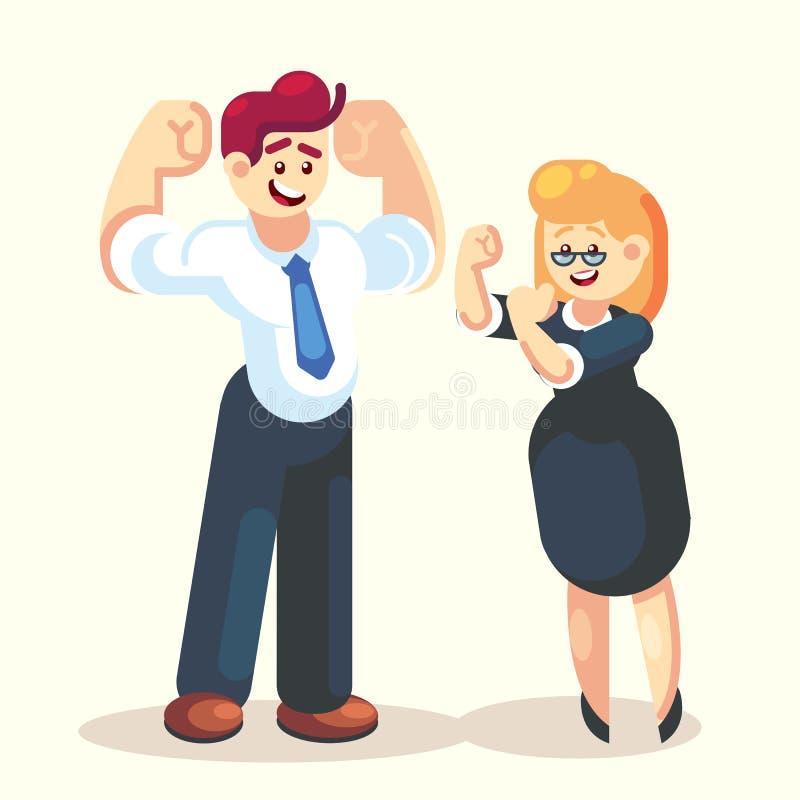 Сильный счастливый дизайн вектора характера команды работника офиса бизнесмена и коммерсантки плоский мы можем сделать его иллюстрация штока
