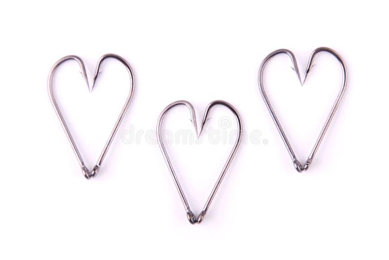 Сильный удя крюк установил символы сердца стоковые фото