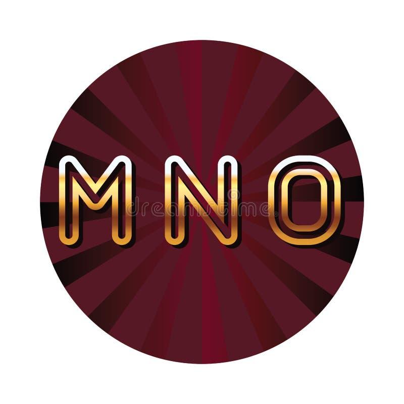 Символа экрана безопасностью писем шрифта алфавита MNO эмблема голубого красная круглая иллюстрация вектора