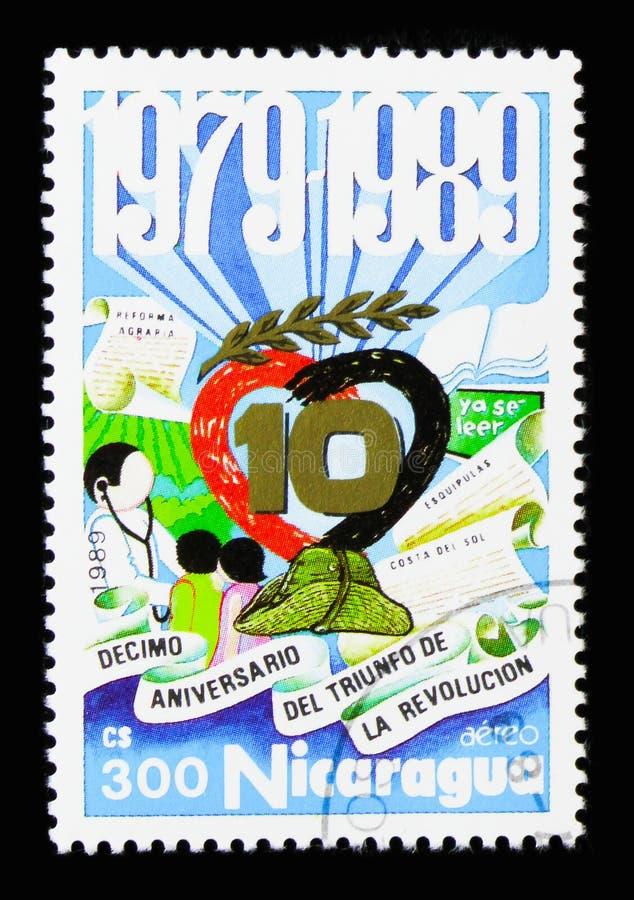 Символическое представление, 10th годовщина Sandinista Revo стоковое изображение