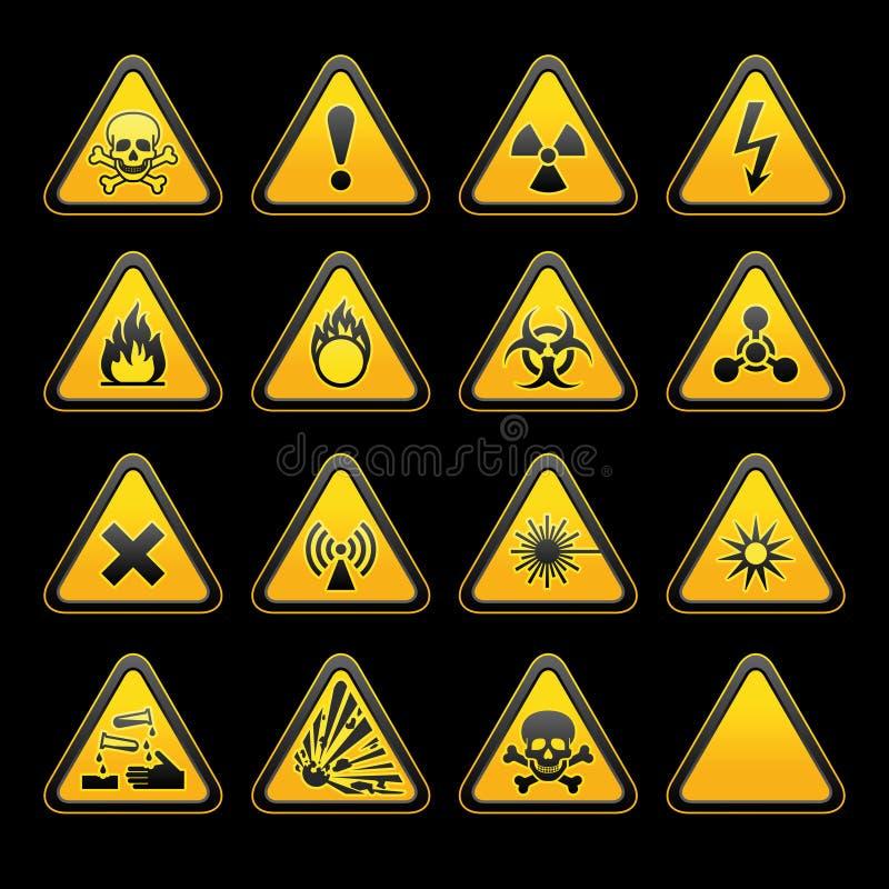 символов знаков опасности предупреждение установленных триангулярное иллюстрация вектора