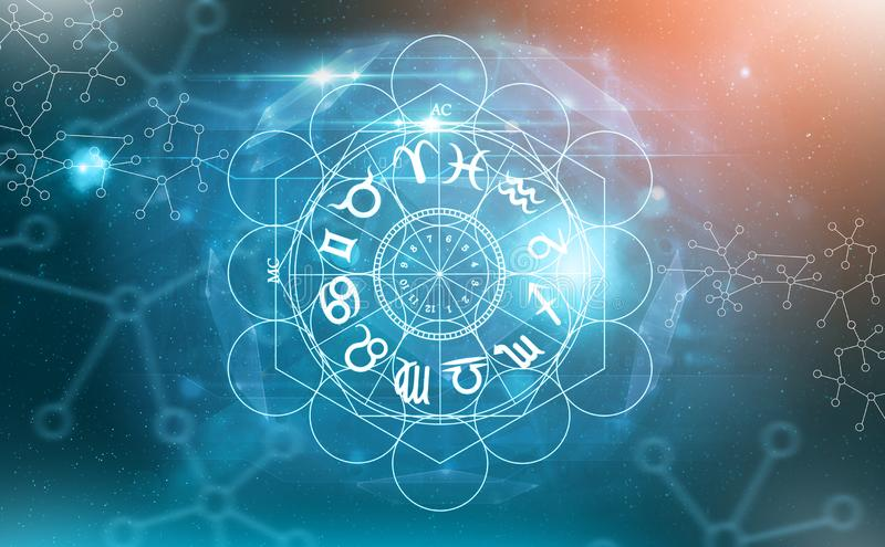 Символы астрологии зодиака стоковое изображение rf