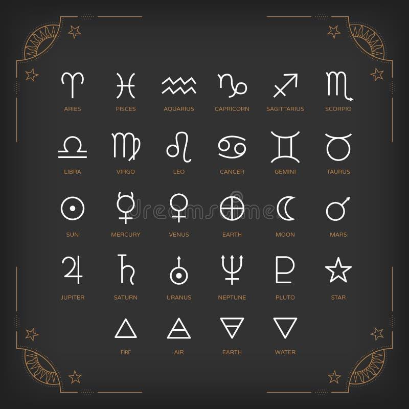 Символы астрологии и мистические знаки Комплект астрологических элементов графического дизайна иллюстрация штока