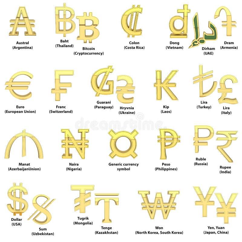 Символы валюты золота Алфавит символов валют различных стран 3D представляют изолировано на белизне иллюстрация вектора