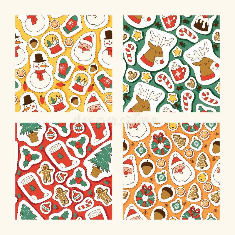 Символы вектора значков рождества для дизайна картины торжества зимы поздравительной открытки безшовного праздники рождества весе иллюстрация вектора