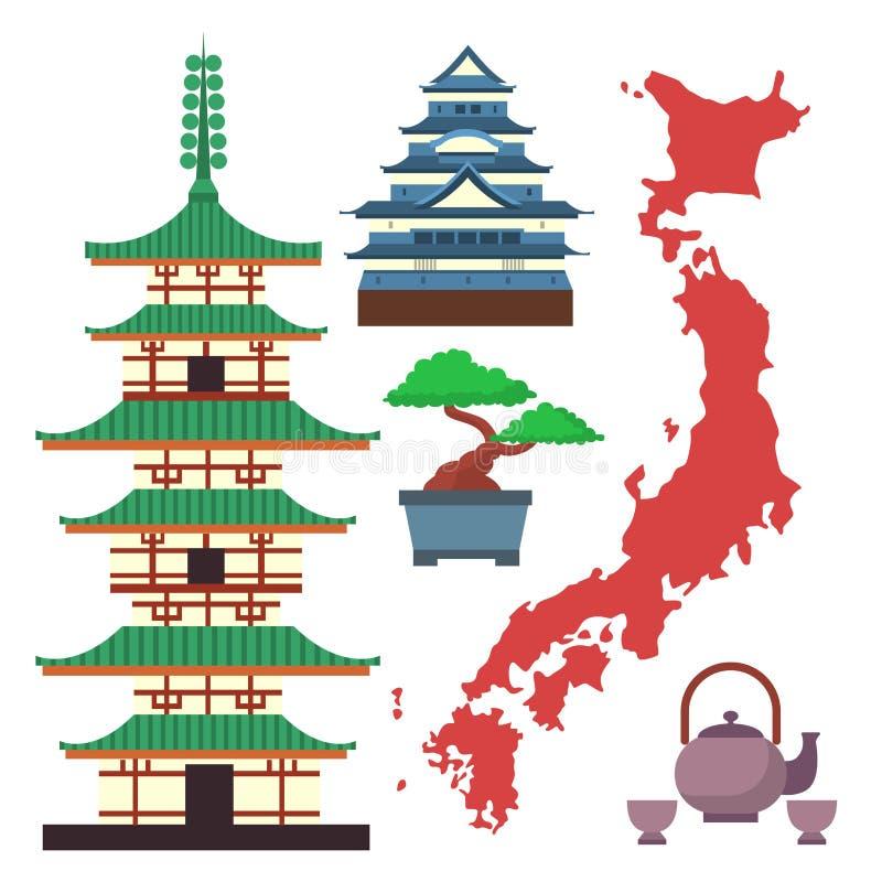 Символы вектора покрашенные квартирой перемещения Японии и туризма Азии конструируют упаковывая ткань традиционный Фудзи oriental иллюстрация штока