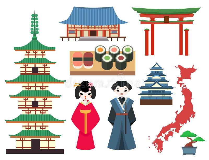 Символы вектора покрашенные квартирой перемещения Японии и туризма Азии конструируют упаковывая ткань традиционный Фудзи oriental иллюстрация вектора