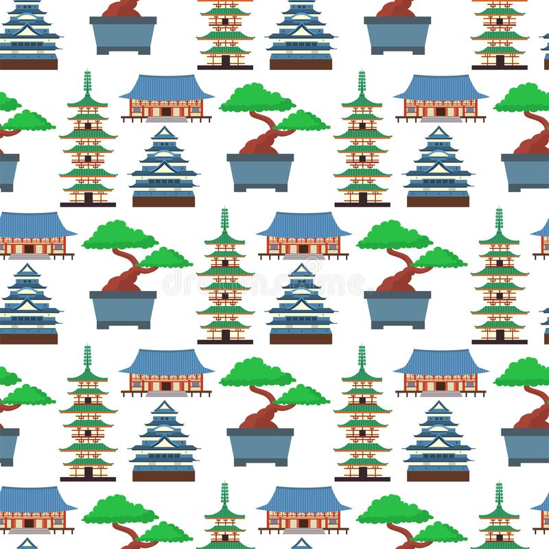 Символы вектора покрашенные квартирой туризма Азии предпосылки картины перемещения Японии безшовного конструируют упаковывая ткан бесплатная иллюстрация
