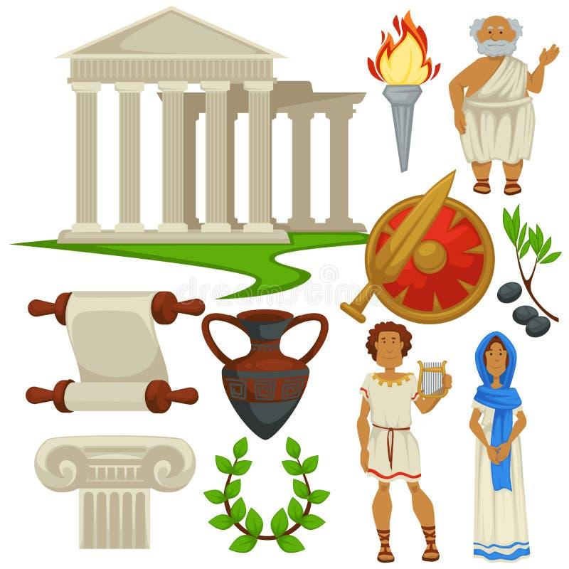 Символы Греции путешествуя история и культура старый Рим иллюстрация штока