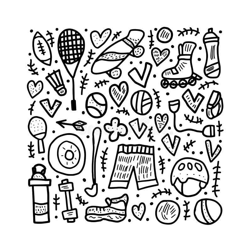 Символы деятельностям при спорта также вектор иллюстрации притяжки corel бесплатная иллюстрация