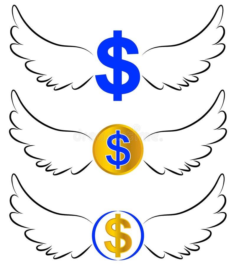 Символы доллара летания в крылах иллюстрация вектора