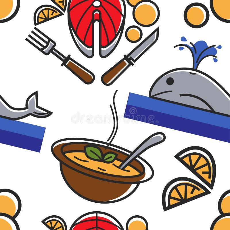 Символы еда Норвегии и кит и блюда рыб картина безшовная иллюстрация вектора