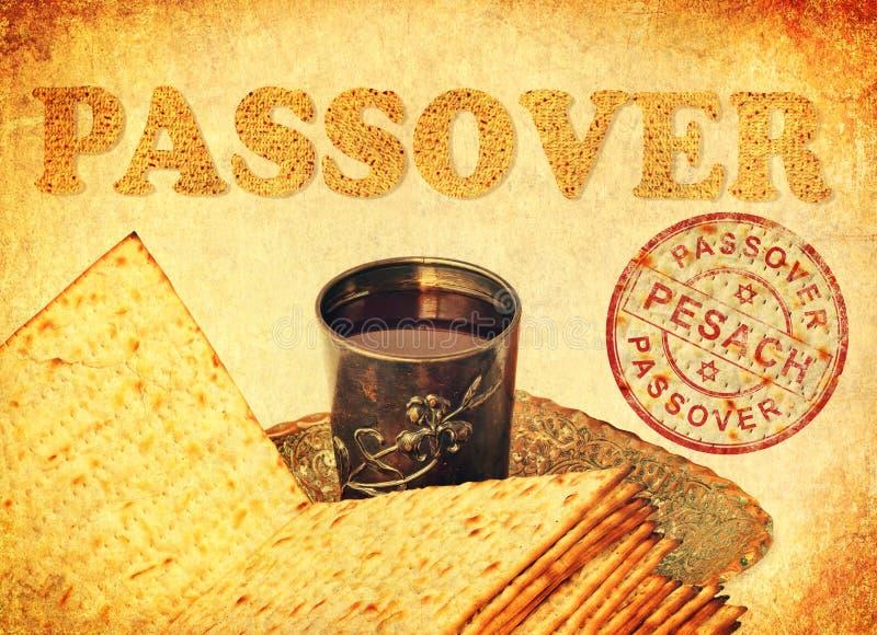 Символы еды еврейской пасхи большего еврейского праздника стоковое изображение
