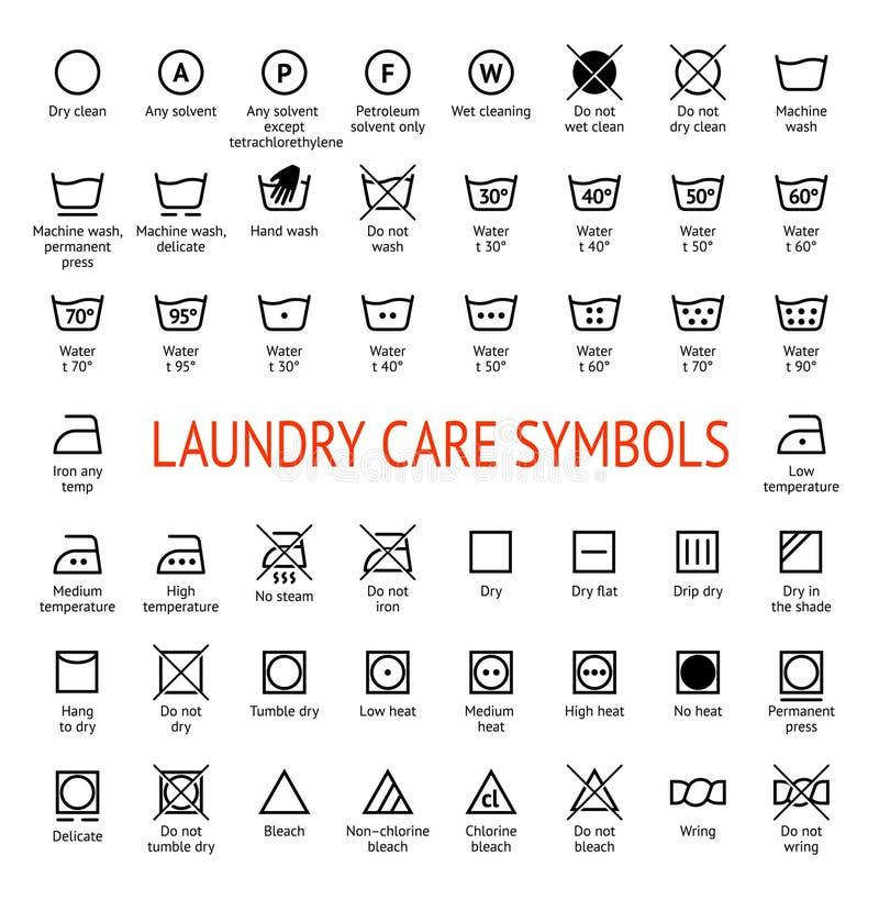 Символы заботы прачечной установленные иконы чистки иллюстрация штока