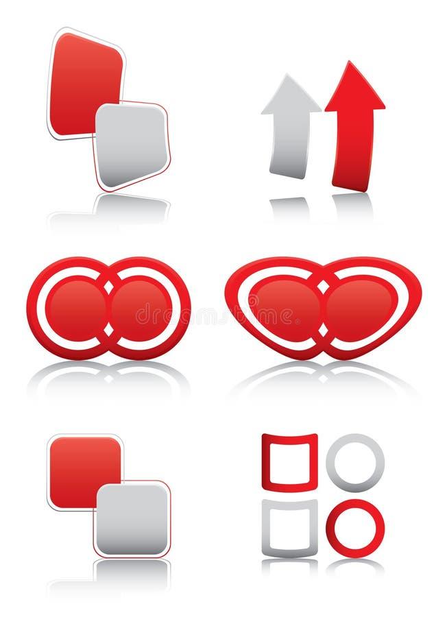символы знаков лоснистого красного цвета установленные иллюстрация вектора