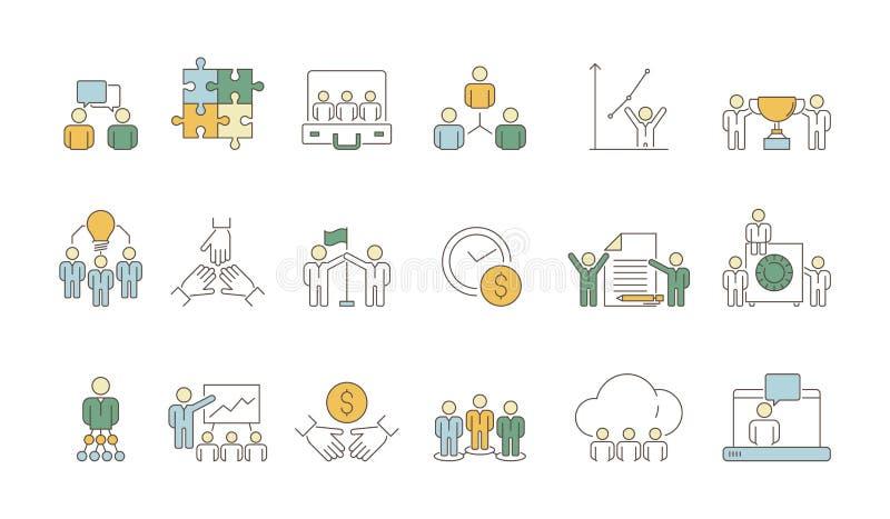 Символы команды дела Конторская работа вектора толпы руководителя организации группы людей coworking покрасила тонкие значки иллюстрация штока