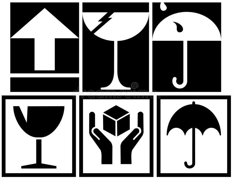 символы коробки упаковывая иллюстрация вектора