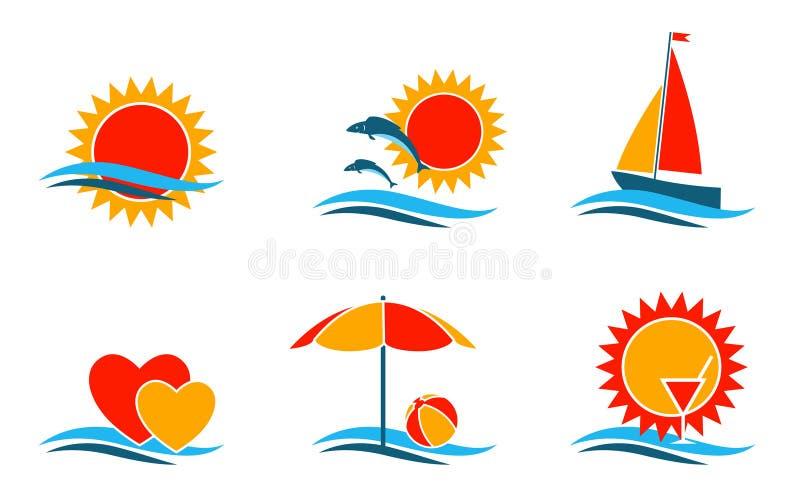 символы лета иллюстрация вектора