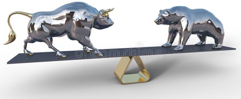 Символы масштаба фондовой биржи Bull и медведя стоковые фотографии rf