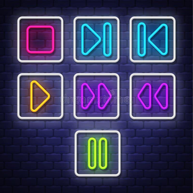 Символы музыки большого собрания неоновые Неоновые символы конструируют элементы иллюстрация вектора