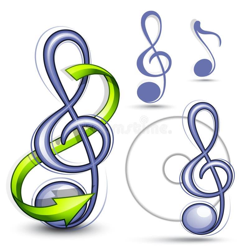 символы мюзикл clef иллюстрация штока