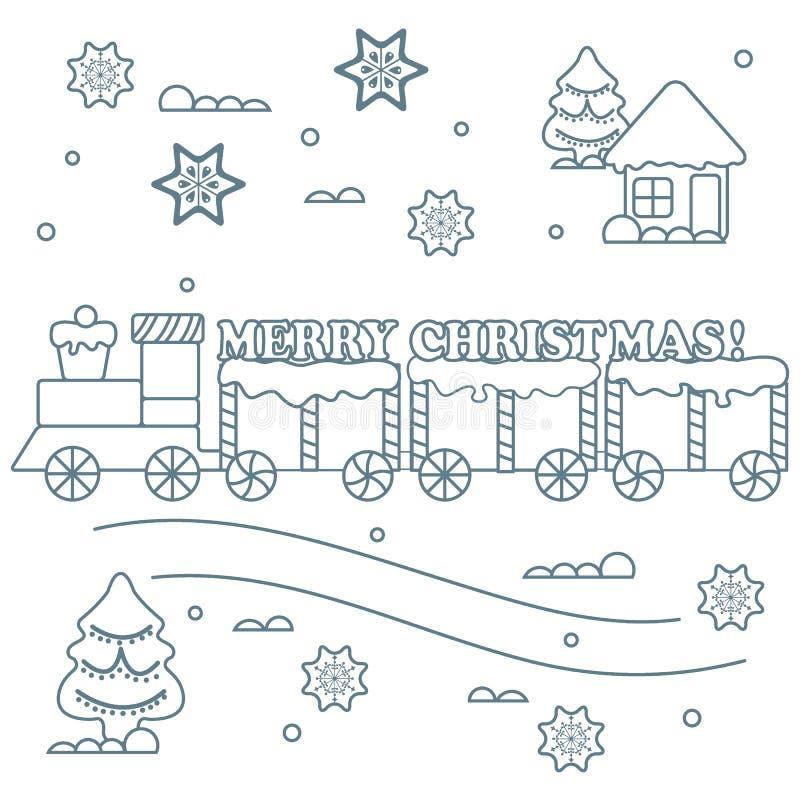 Символы Нового Года и рождества: поезд, фуры, пряник,  hr Ñ бесплатная иллюстрация