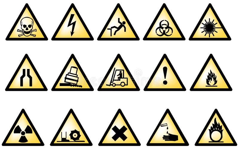 символы опасности векториальные иллюстрация вектора