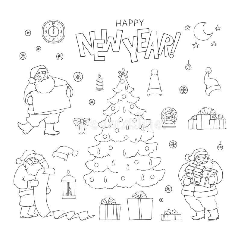Символы праздника Санта Клауса набора Нового Года Линия характер и подарочная коробка эскиза черноты вектора рождественской елки  иллюстрация вектора