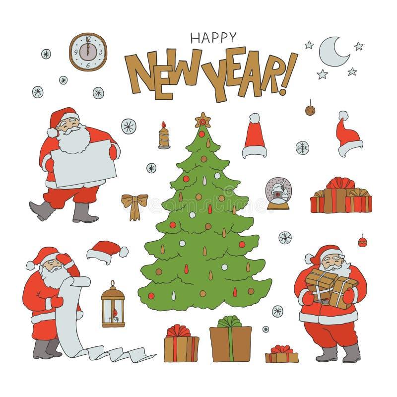 Символы праздника Санта Клауса набора Нового Года Характер и подарочная коробка рождественской елки эскиза вектора с лентами прив бесплатная иллюстрация