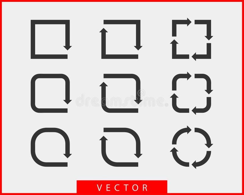 Символы предпосылки вектора стрелок собрания черно-белые Круг различного значка стрелки установленный, вверх по, курчавый, прямой иллюстрация штока