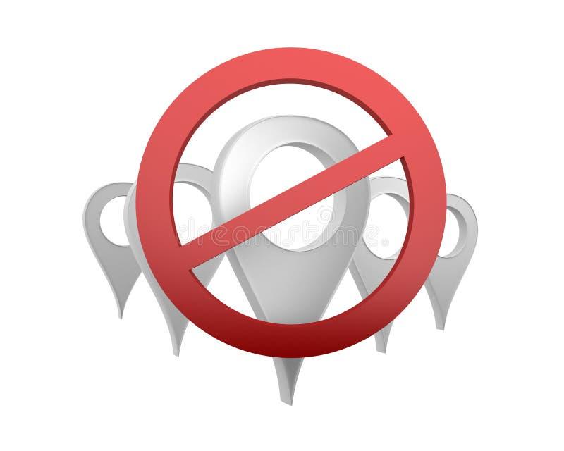 Символы пункта карты под знаком запрета иллюстрация штока