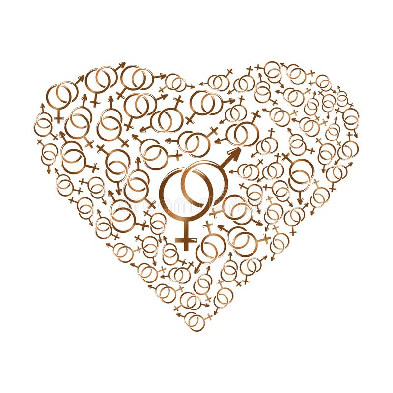 Символы рода сердца состоя из иллюстрация штока