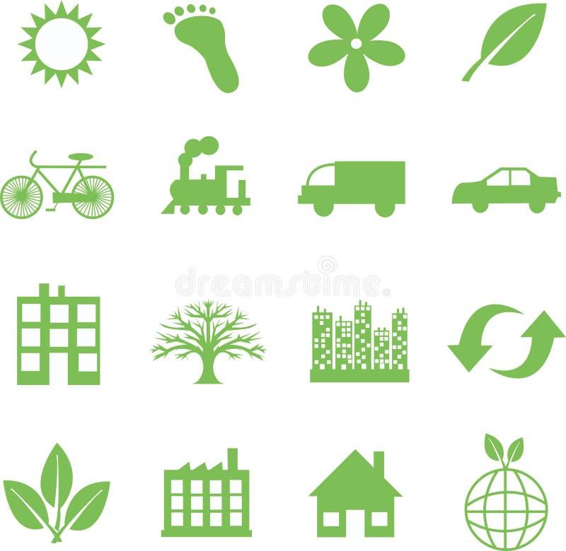 символы экологичности зеленые иллюстрация штока