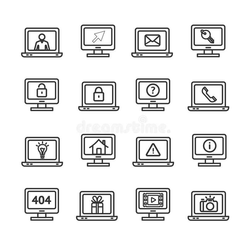 Символы экрана компьютера с чернотой знаков утончают линию комплект значка вектор иллюстрация штока