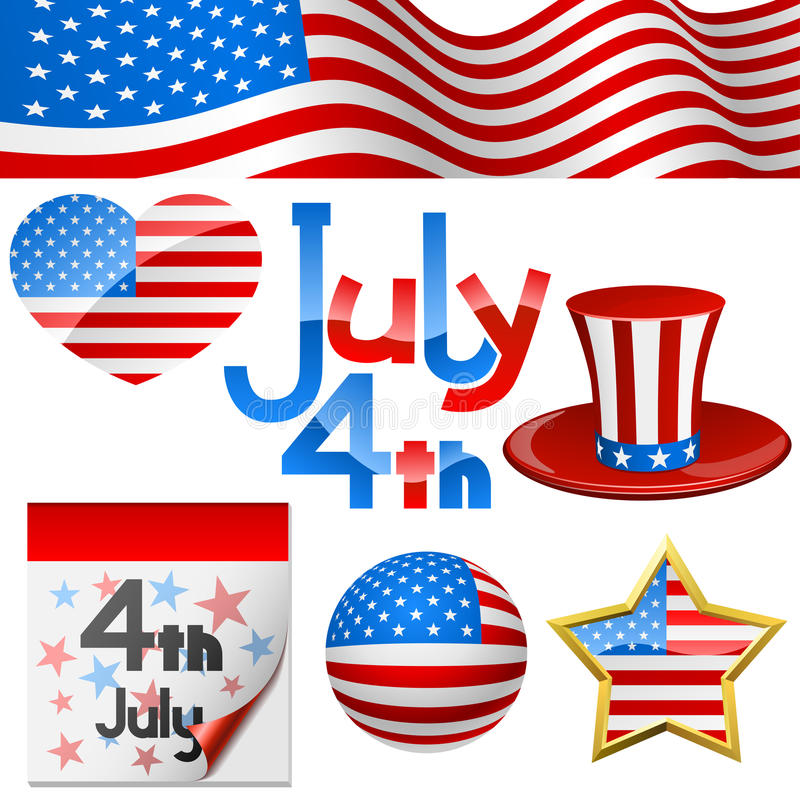 Символы 4-ое июля бесплатная иллюстрация