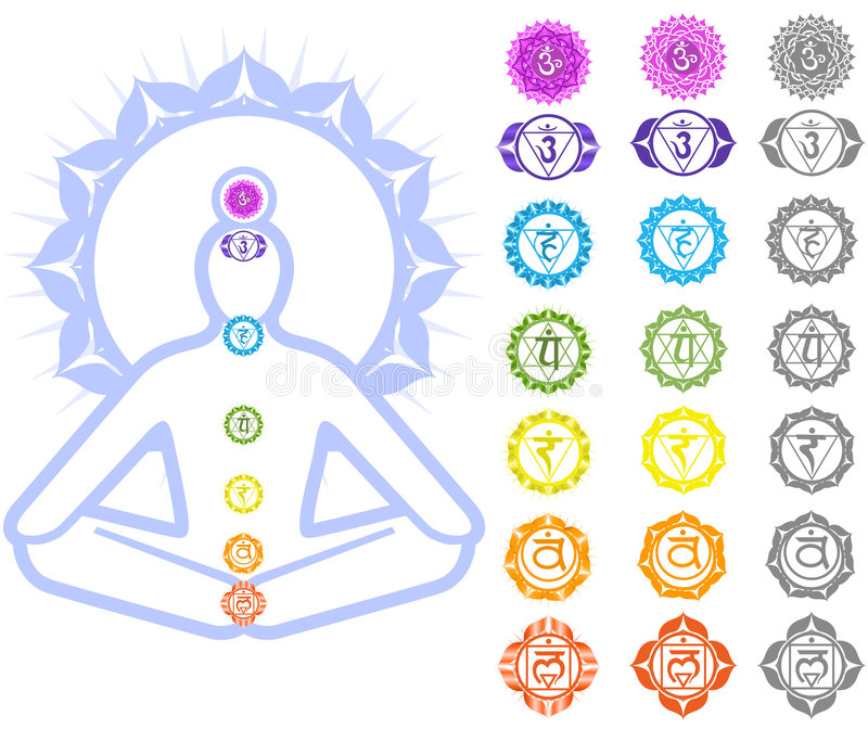 символы chakras иллюстрация вектора