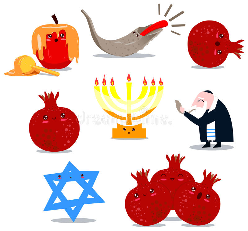 символы rosh пакета hashanah иллюстрация штока