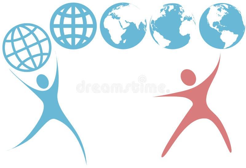 символы swoosh планеты людей владением глобуса земли вверх иллюстрация вектора