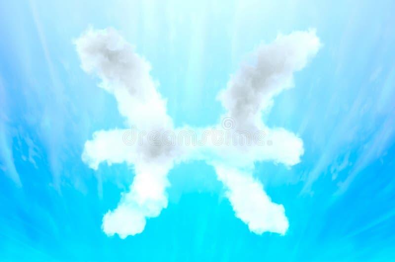 Символ астрологии в материале облака - Pisces стоковые фотографии rf