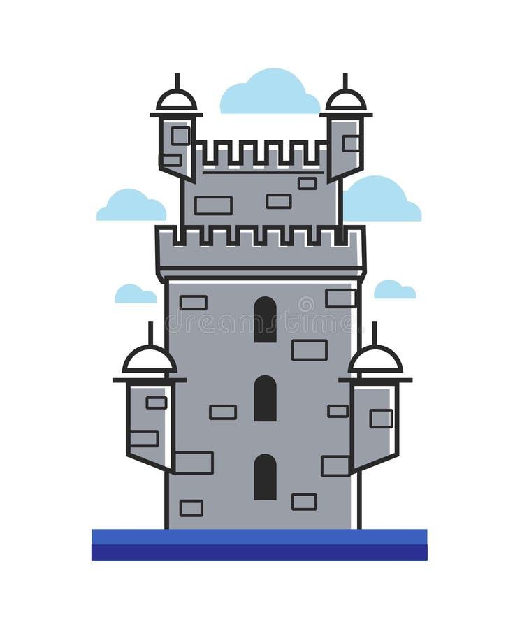 Символ башни Belem вектора architectre Португалии иллюстрация вектора