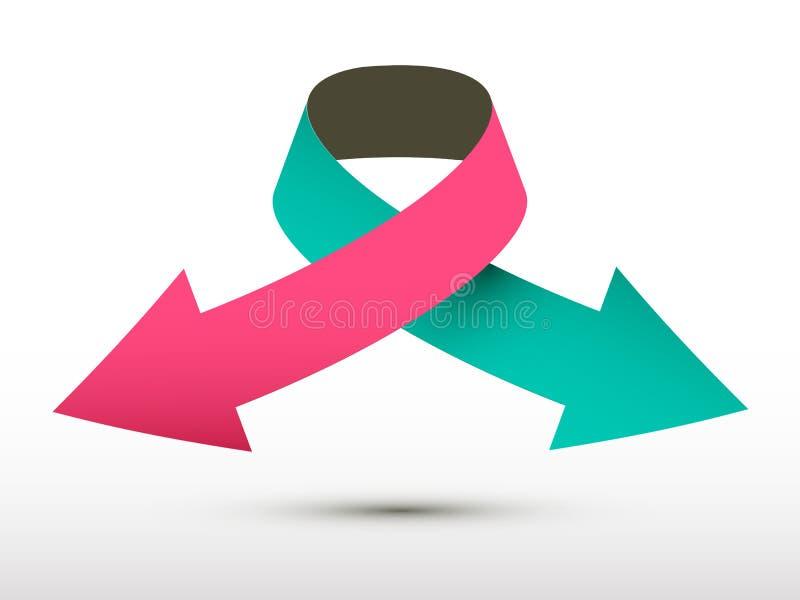 Символ бумаги стрелки логотипа вектора двойной иллюстрация штока