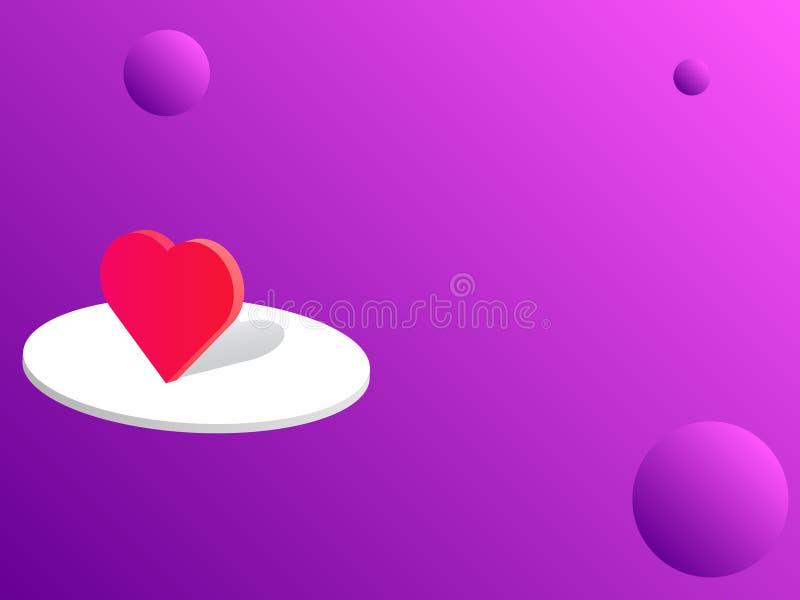Символ валентинки на стойке с фиолетовым backgroud на день ` s валентинки стоковое фото rf