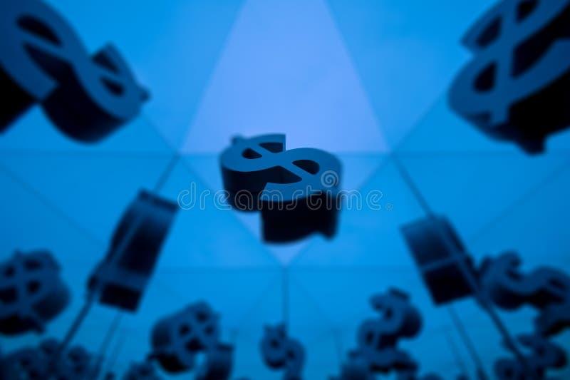Символ валюты доллара с много отражая изображений иллюстрация штока