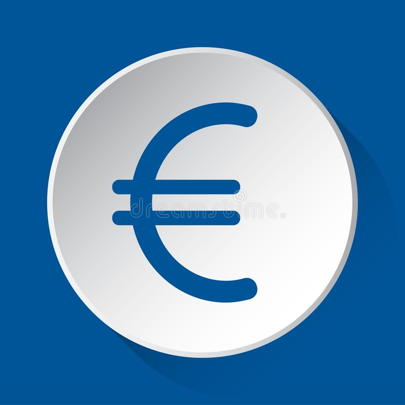 Символ валюты евро - голубой значок на белой кнопке иллюстрация штока
