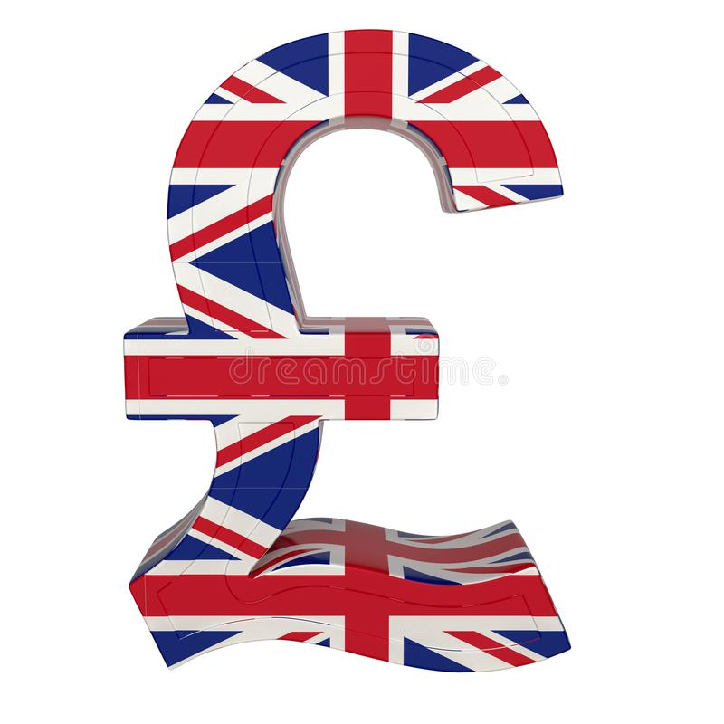 Символ валюты с национальным флагом валюта Великобритания 3D представляют изолировано на белизне иллюстрация вектора