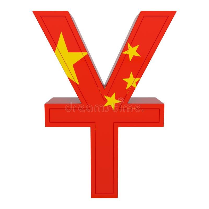 Символ валюты с национальным флагом китайская валюта 3D представляют изолировано на белизне бесплатная иллюстрация