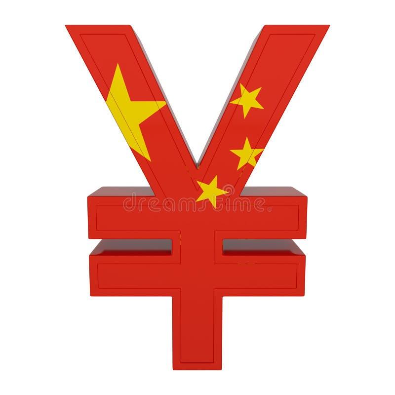Символ валюты с национальным флагом китайская валюта 3D представляют изолировано на белизне иллюстрация вектора