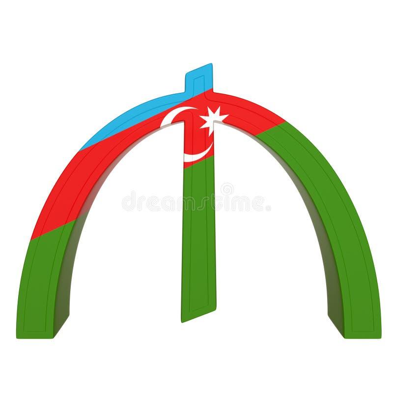 Символ валюты с национальным флагом Манат валюта Азербайджана 3D представляют изолировано на белизне иллюстрация штока